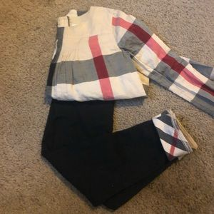 100% Authentic Burberry Shirt and leggings